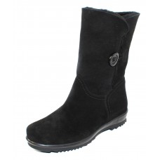 La Canadienne Women's Tessie In Black Waterproof Suede/Genuine Shearling