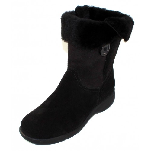 La Canadienne Women's Traveler In Black Waterproof Suede/Shearling