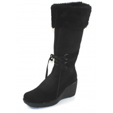 La Canadienne Women's Viola In Black Waterproof Suede/Genuine Shearling