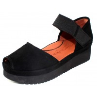 Lamour Des Pieds Women's Amadour In Black Kid Suede/Stretch Elastic