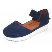 Lamour Des Pieds Women's Amadour In Navy Blue Kid Suede/Blue Stretch Elastic