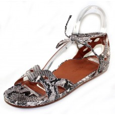 Lamour Des Pieds Women's Darrylynn In Black/White Embossed Snake Printed Leather