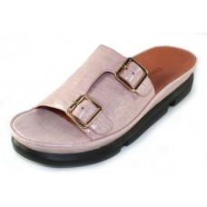 Lamour Des Pieds Women's Viareggio In Pink Athena Embossed Metallic Shimmer Thread Suede