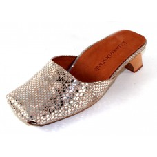 Lamour Des Pieds Women's Winoc In Gold/Silver Snake Embossed Leather