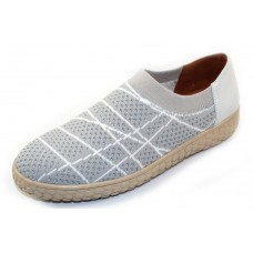 Lamour Des Pieds Women's Zohndra In Beige/White Woven Stretch Fabric