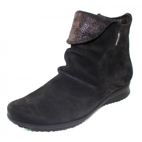 Mephisto Women's Fiorella In Black Bucksoft/Fashion Embossed Glitter Suede 6900/26600