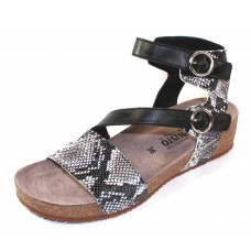 Mephisto Women's Indra In Graphite Embossed Snake Print Leather/Black Leather 3359/6200