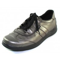 Mephisto Women's Laser In Dark Grey Pearlized Calfskin Leather 10152