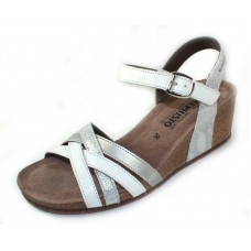Mephisto Women's Mado In White Silk Leather/Silver Savana Embossed Printed Metallic Leather/Calfskin 7830/12968/10168