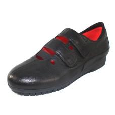 M Maccari Women's Agata Velcro In Black Grain Leather