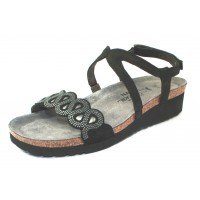 Naot Women's Addie In Black Nubuck With Silver Rivets/Black Velvet Nubuck/Sterling Leather