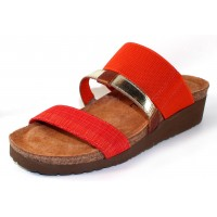 Naot Women's Brenda In Orange Gore/Orange Fabric/Gold Gore/Maple Brown Leather