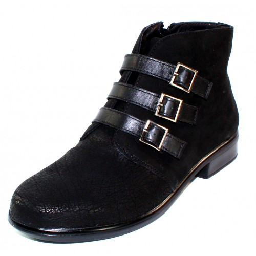 Naot Women's Calima In Black Crackle Leather/Velvet Nubuck/Raven Leather