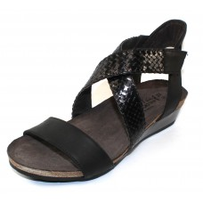 Naot Women's Cupid In Oily Coal Nubuck/Black Braid Woven Leather