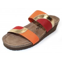 Naot Women's Frankie In Gold Leather/Orange Fabric/Red Fabric