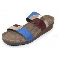 Naot Women's Frankie In Satin Gold Leather/Royal Blue Fabric/Bordeaux Patina Fabric