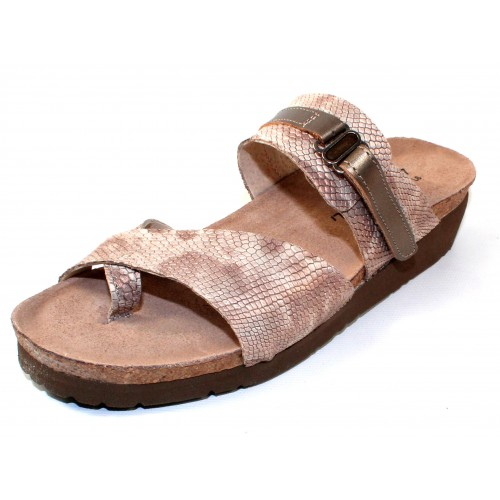 Naot Women's Jessica In Beige Snake Imprinted Leather/Pewter Leather