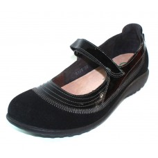 Naot Women's Kirei In Black Madras Leather/Shiny Leather/Patent Leather