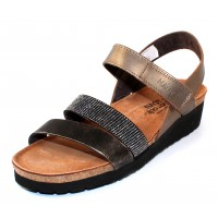 Naot Women's Krista In Pewter Leather/Metal Leather With Silver Rivets