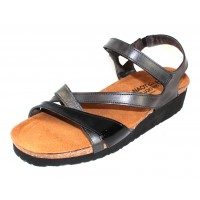 Naot Women's Sophia In Brushed Black Leather/Black Crinkle Patent Leather/Metallic Road Leather