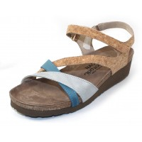 Naot Women's Sophia In Gold Cork/Ice Blue/Vintage Blue Leather
