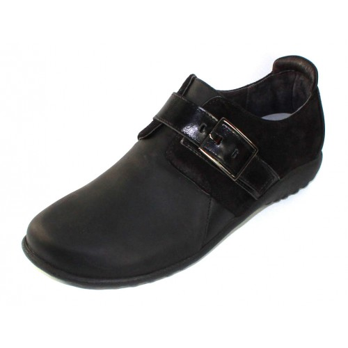 Naot Women's Tane In Oily Coal Leather/Black Suede/Madras Leather