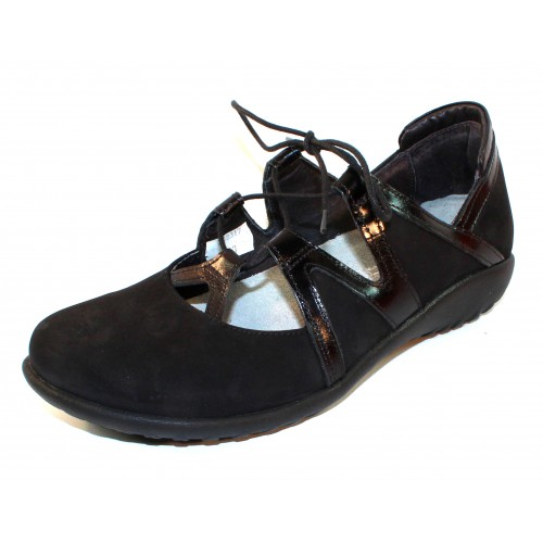 Naot Women's Timu In Black Velvet Nubuck/Madras Leather