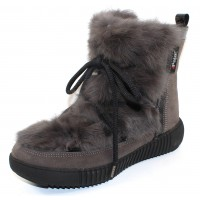 Pajar Women's Anet In Charcoal Rabbit/Suede/Black Patent Leather Trim