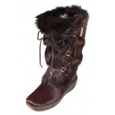Pajar Women's Davos In Brown Goat Fur/Cow Hair