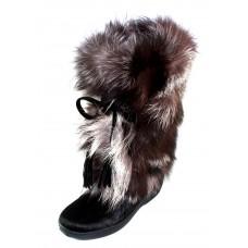 Pajar Women's Fox Trot In Black Hair Calf/Fox Hair