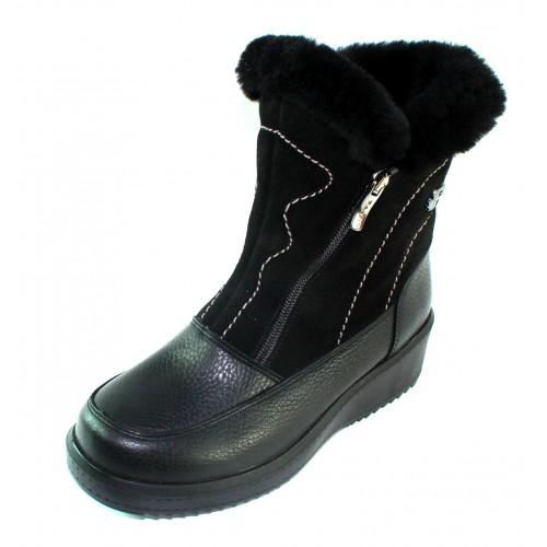 Pajar Women's Mia A In Black Waterproof Bison Leather/Suede