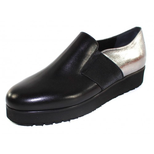 Pas De Noir Women's Helga M345Pn In Black Calf Leather/Elastic/Silver Metallic Leather