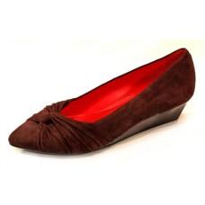 Pas De Rouge Women's Amy D229 In Dark Brown Suede/Patent Leather