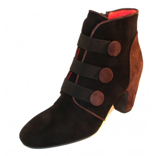 Pas De Rouge Women's Angela 1322 In Black/Testa Di Moro Brown Suede
