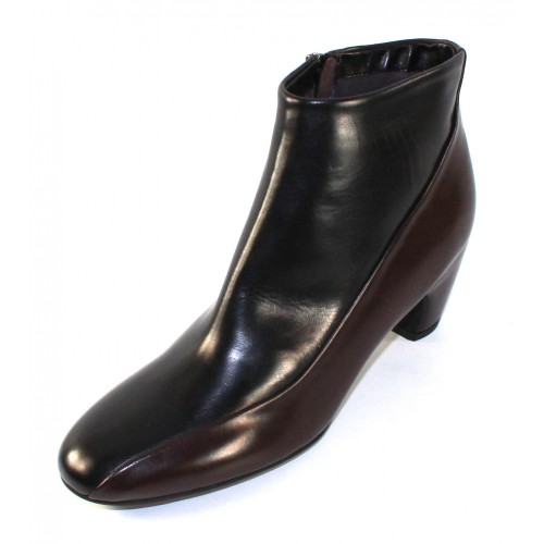 Pas De Rouge Women's Angela R627 In Black/Brown Waterproof Calf Leather