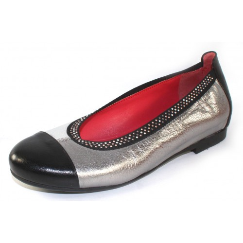 Pas De Rouge Women's Elena P232 In Black Leather /Argento Silver Metallic Grain Leather