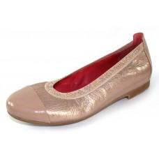 Pas De Rouge Women's Elena P232 In Cipria Taupe Patent Leather/Ecru Metallic Leather/Elastic