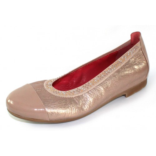 Pas De Rouge Women's Elena P232 In Cipria Taupe Patent Leather/Ecru Metallic Leather/Elastic