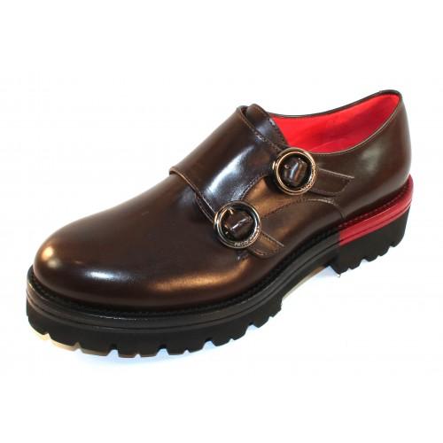 Pas De Rouge Women's Elvira 1414 In Testa Di Moro Brown Waterproof Indiro Calf Leather