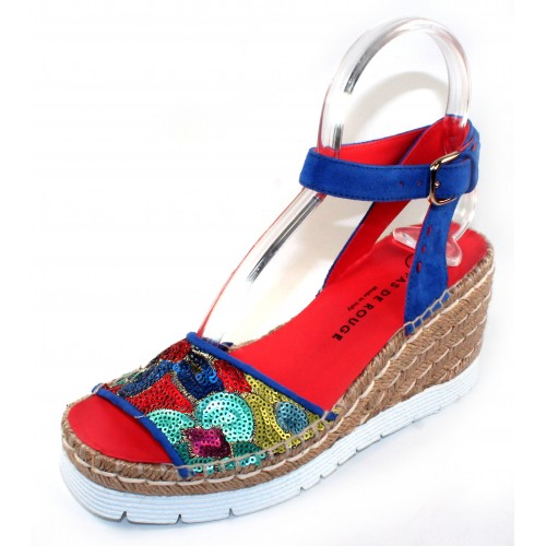 Pas De Rouge Women's Estella 1189 In Fluo Multicolored Beading/Cina Blue Suede