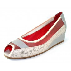 Pas De Rouge Women's Franca P810 In Spuma Light Beige Foulard Leather/Torto Greyish-Taupe Patent Leather