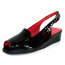 Pas De Rouge Women's Franca P901 In Black Lak Patent Leather