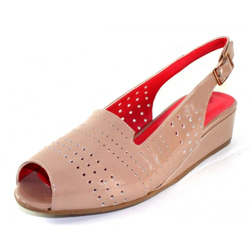 Pas De Rouge Women's Franca P901 In Cipria Light Taupe Lak Patent Leather