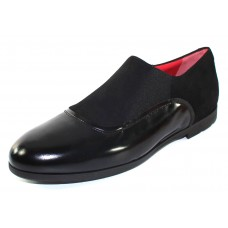 Pas De Rouge Women's Giusy M323 In Black Patent Leather/Suede