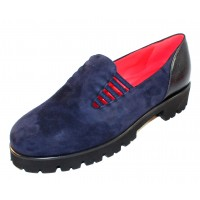 Pas De Rouge Women's Marta 1312 In Navy Blue Suede/Foulard Leather