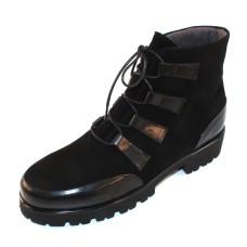 Pas De Rouge Women's Marta 1320 In Black Waterproof Suede/Calf Leather