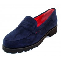 Pas De Rouge Women's Marta N399 In Navy Blue Camoscio Suede