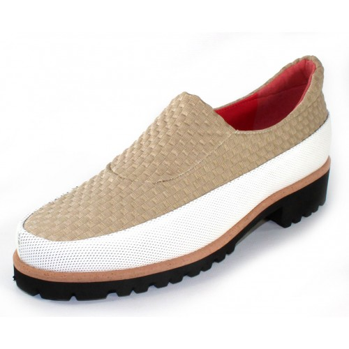 Pas De Rouge Women's Marta P307 In Bianco White Vitello Leather/Beige Scroll Woven Fabric