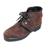 Pas De Rouge Women's Nora 1418 In T. Moro Dark Brown Waterproof Suede