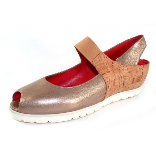 Pas De Rouge Women's Silvia P928 In Ecru Light Gold Brill Metallic Leather/Beige Sughero Cork